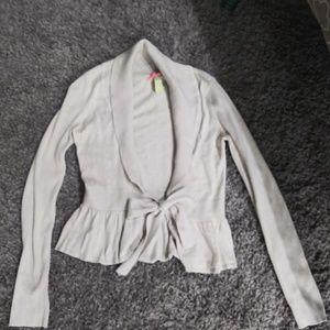 Ruffled Tie Cardigan